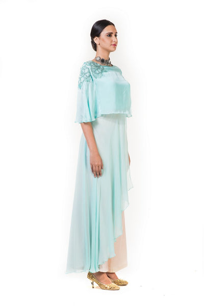 Anushree Agarwal Light Blue Cape Top with Palazzo Pants