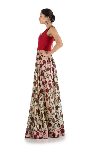 Anushree Agarwal Floral Printed Flare Gown