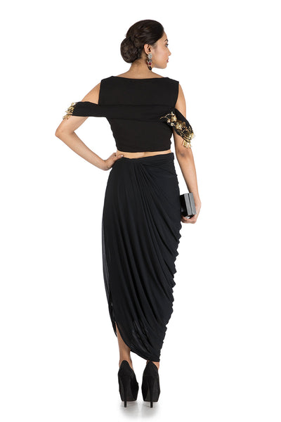 Anushree Agarwal Black Top And Dhoti Skirt