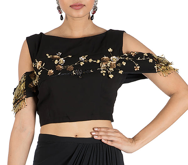 Anushree Agarwal Black Waist Cutout Gown