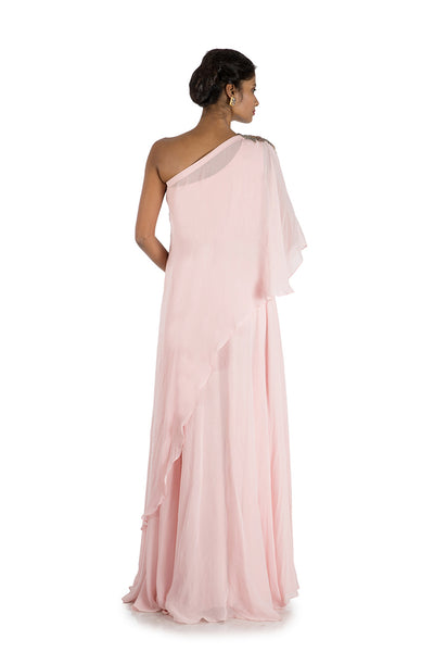 Anushree Agarwal Pink Cape Gown