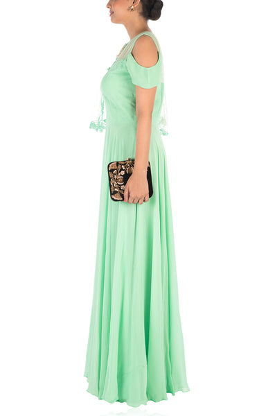 Anushree Agarwal Hand Embroidered Lime Green Gown With One Side Cape and Cold-Shoulder