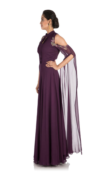 Anushree Agarwal Plum Colour Cold Shoulder Dress