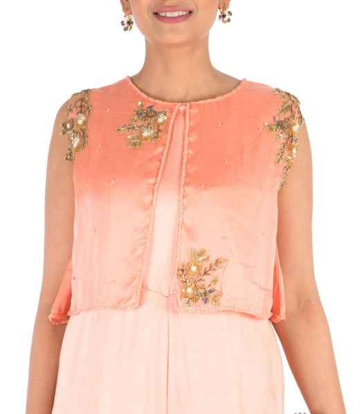 Anushree Agarwal Hand Embroidered Peach Jumpsuit With Attach Jacket