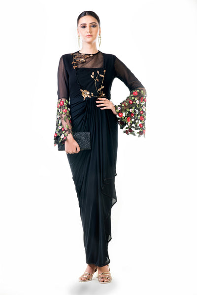Anushree Agarwal  Black Embroidered Bell Sleeves Draped Dress