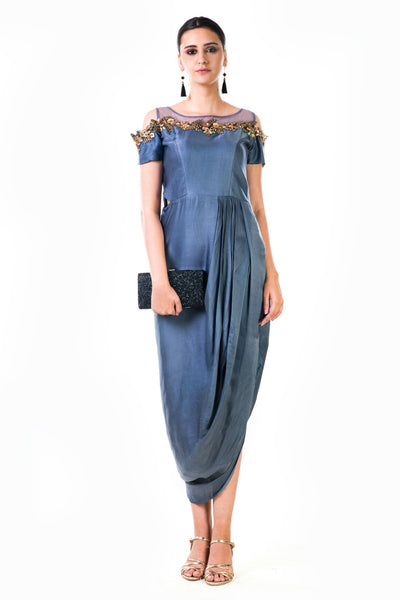Anushree Agarwal Grey Hand Embroidered Cold Shoulder Draped Gown