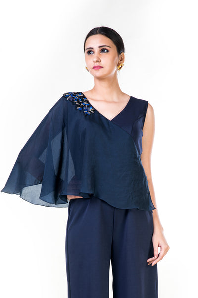 Anushree Agarwal Blue Cape Style Jumpsuit