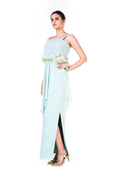 Anushree Agarwal Blush Green Single Shoulder Cape Gown