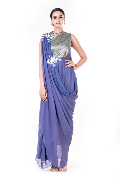 Anushree Agarwal  Embroidered Lavender Draped Gown