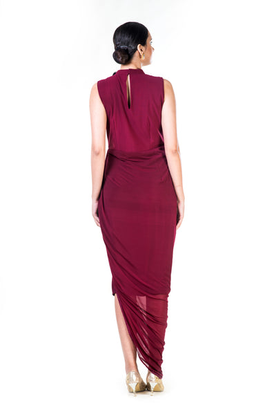 Anushree Agarwal Embroidered Maroon Fringe Neck Drape Gown