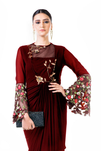 Anushree Agarwal Maroon Embroidered Bell Sleeves Draped Dress