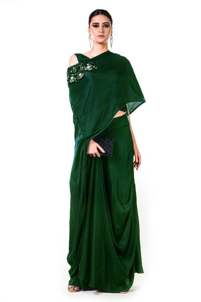 Anushree Agarwal Bottle Green Draped Gown with Cape Dupatta