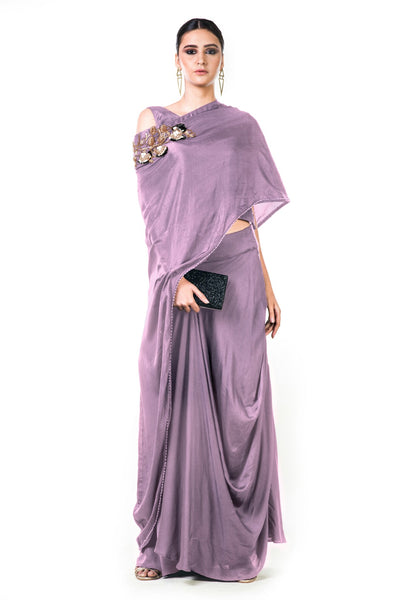 Anushree Agarwal Mauve Draped Gown with Cape Dupatta