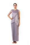 Anushree Agarwal Ice Grey Sleeveless Drape Gown