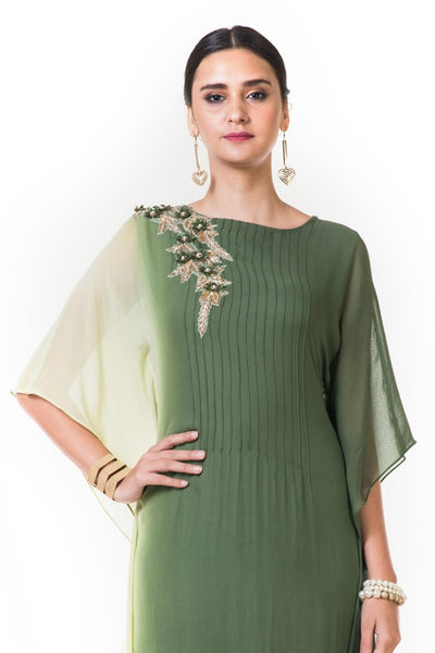 Anushree Agarwal Lemon and Green Shaded Kaftan Gown