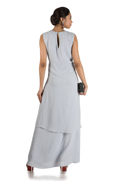 Anushree Agarwal Ice Grey Double Layer Tunic