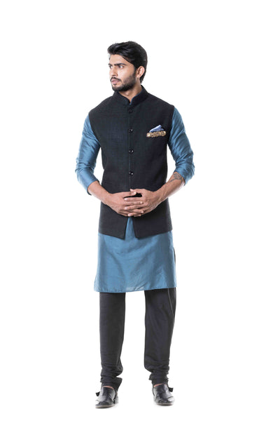 Anju Agarwal Blue Kurta With Black Waist Coat Set.