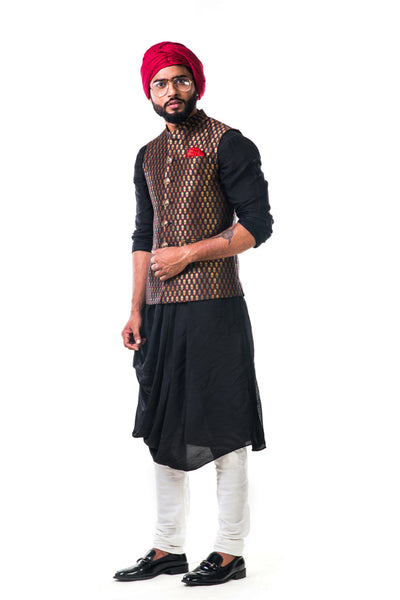 Anju Agarwal Black Cowl Kurta Set With a Black Nehru Jacket