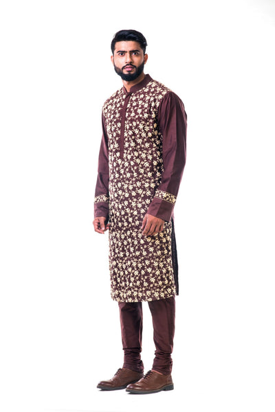Anju Agarwal Chocolate Brown Katan Silk  Kurta Set