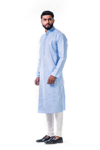 Anju Agarwal Ice Blue Thread Embroidery Kurta Set