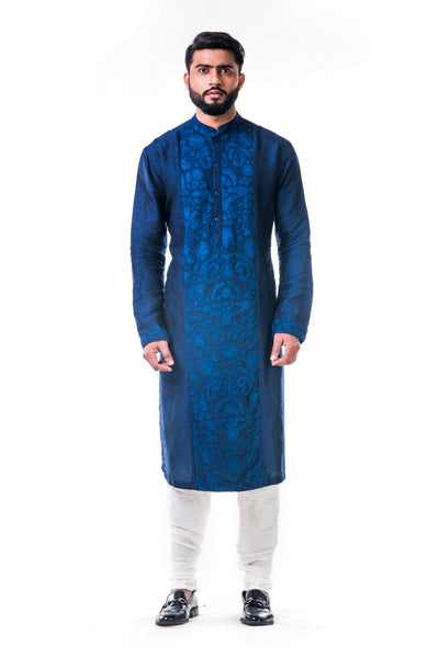 Anju Agarwal Blue Ari Embroidery Silk Kurta Set
