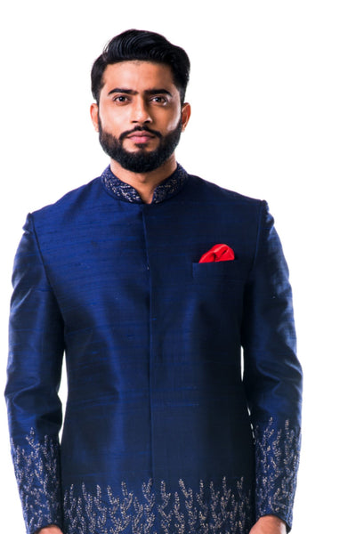 Anju Agarwal Midnight Blue Hand Embroidered Thread Work Sherwani Set