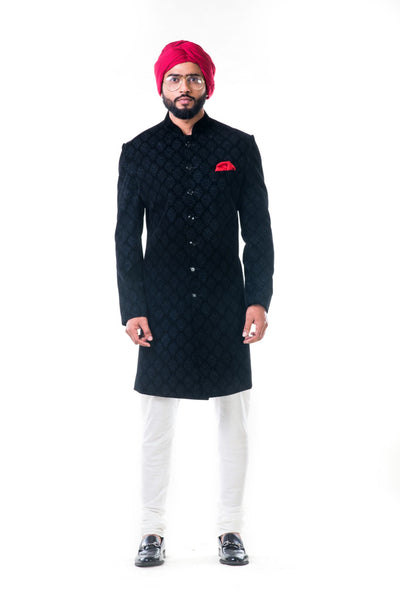 Anju Agarwal Black Velvet Self Embroidered Sherwani Set