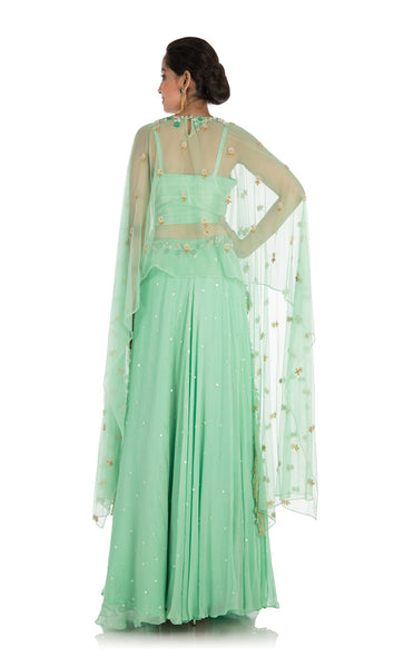 Anju Agarwal Mint Green Cape Lehenga Set