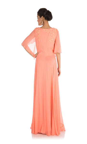 Anju Agarwal Apricot Backside Cape Gown