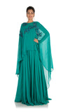 Anju Agarwal Pine Green Long Cape Gown