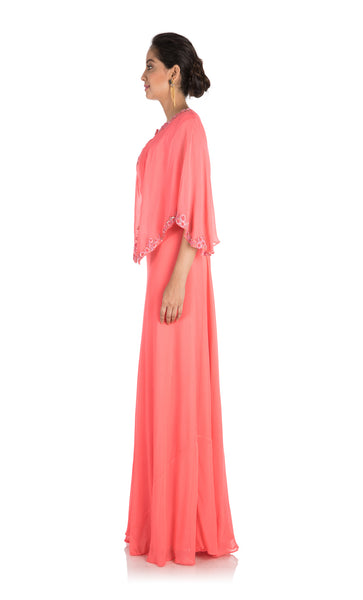 Anju Agarwal Candy Pink Backside Cape Gown