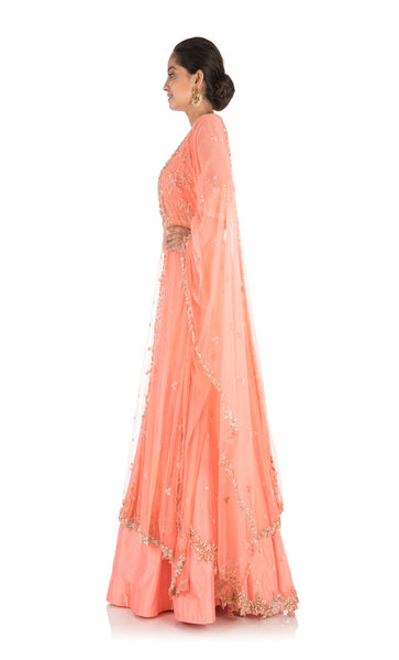Anju Agarwal Ceramic Peach Jacket Lehenga Set