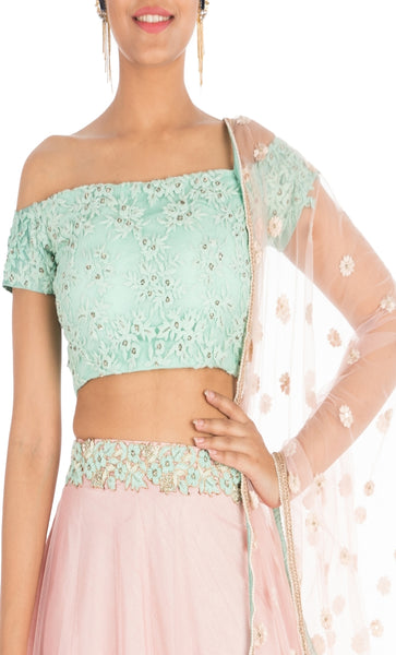 Anju Agarwal Blush Pink And Aqua Off Shoulder Lehenga Set