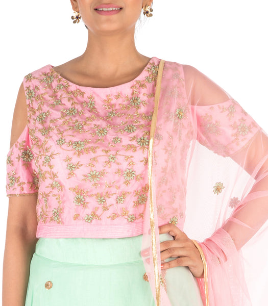 Anju Agarwal Hand Embroidered Pink & Sea Green Lehenga Set