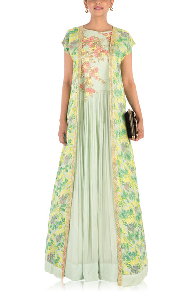 Anju Agarwal Hand Embroidered Pale Green Micro Pleated Flare Gown With Printed Jacket