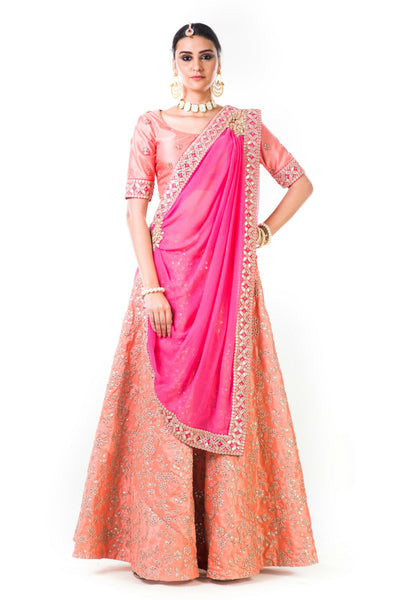 Anju Agarwal  Peach Work Lehenga Set