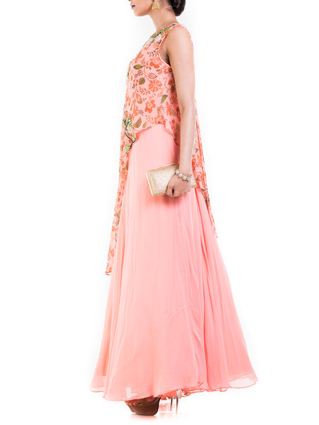 Anju Agarwal Pink Cape Gown