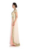 Anju Agarwal Pale Peach And Yellow Gown