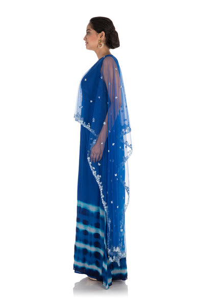 Anju Agarwal Hand Embroidered Royal Blue Tie & Dye Cape Gown