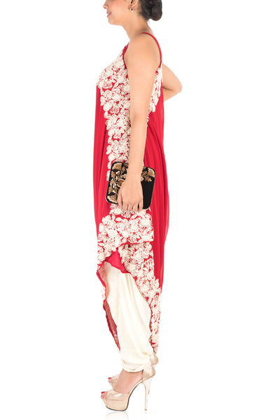 Anju Agarwal Hand Embroidered Ox Blood Red Drape Kurti With Dhoti Pant.