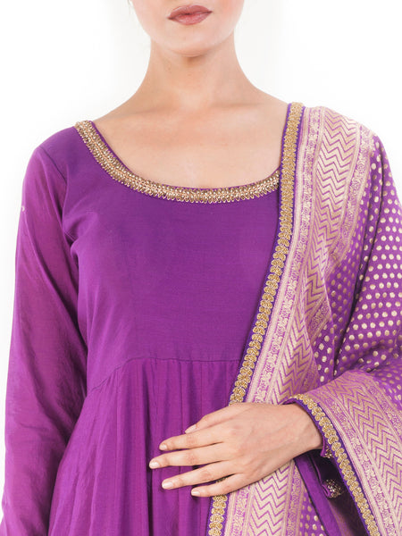 Anju Agarwal Purple Blush Anarkali Suit