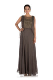 Anju Agarwal Iron Grey Gown with Cape