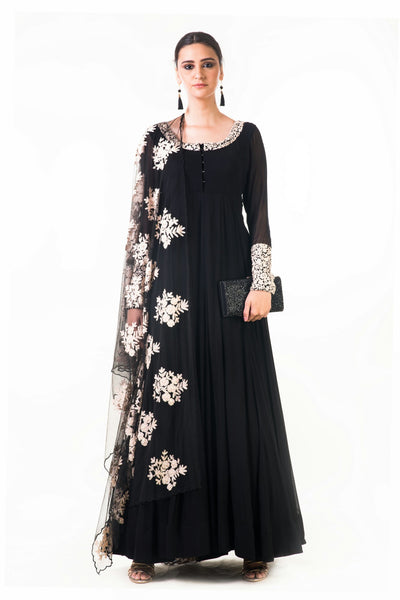 Anju Agarwal Black Ari Dress with Ari Work Net Dupatta