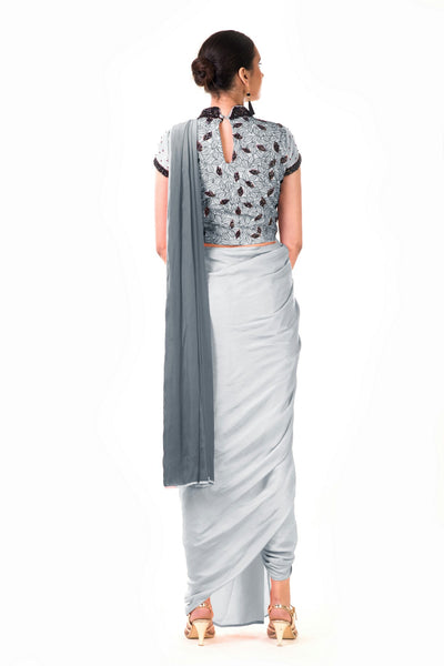 Anju Agarwal Grey Draped Dhoti with Croptop