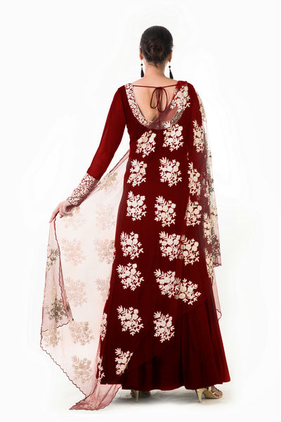 Anju Agarwal Maroon Ari Dress with Ari Work Net Dupatta
