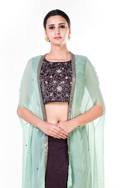 Anushree Agarwal Brown Crop Top and Draped Skirt Set