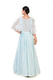 Anju Agarwal Powder Blue Pleated Sequin Cape Gown