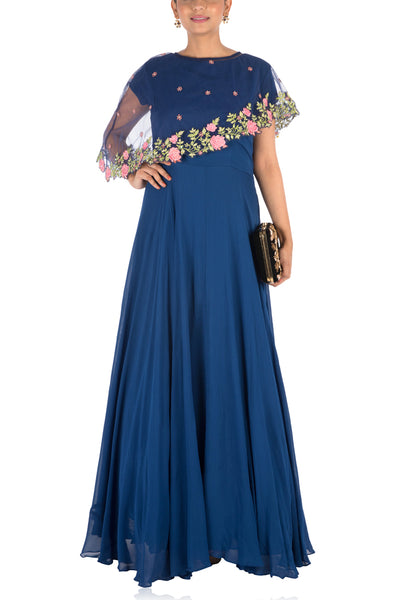 Anushree Agarwal Navy Blue Asymmetrical Cape Gown