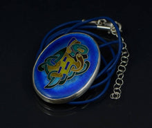 Load image into Gallery viewer, Silver Handmade Cloisonne Celtic Dragon Pendant