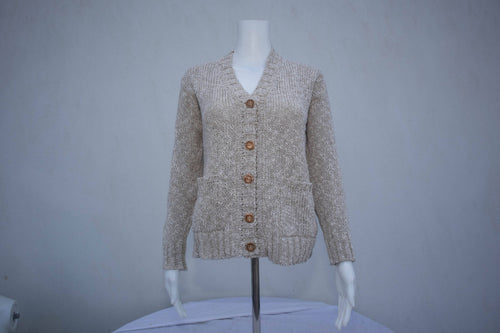 Cotton & Linen Ladies V Neck Cardigan